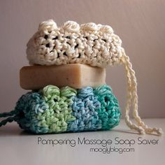 Pampering Massage Soap Saver and other great last minute crochet gift ideas - all take less than 200 yds of yarn! Get the list at mooglyblog.com