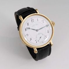 "Schwere, goldene Herrenarmbanduhr ""A. Lange & Söhne, Glashütte-SA."". Um 1910. 18 kt, Gewicht 118 g — Uhren"