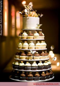 Love the idea of doing just a small cake and a bunch of cup cakes.. Makes it easier for guest.