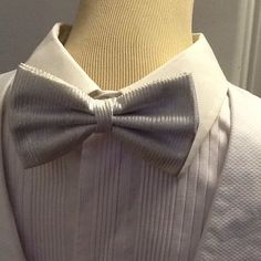 1980s Silver Striped Bowtie by Petticoatjanevintage on Etsy