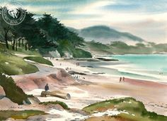 Hubert Buel - Northern California Beach Scene, California art, original California watercolor art for sale, fine art print for sale, giclee watercolor print - CaliforniaWatercolor.com