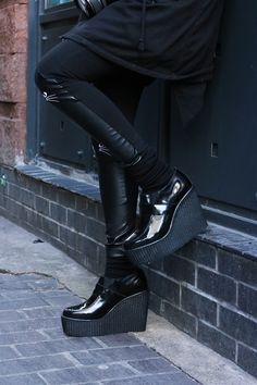 UNDERGROUND SHOES. Wedge Loafer Creepers. Black Patent Leather Wedge Loafer Creeper Shoes.