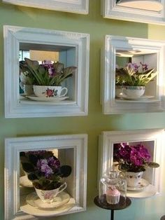 40 Ideas - How To Reuse Tea Cups.... from art decoration, candles, wall hooks and plant pots to pendant lights, lamps, clocks and even bird feeders!... CUTE IDEAS!: