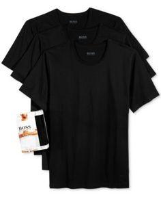 Hugo Boss Men's Underwear, Cotton 3 Pack Crew Neck Undershirts  - Black 2XL
