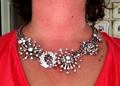 I just made this Stella & Dot-inspired necklace. I used upcycled vintage chains and rhinestone earrings & brooches. So fun!!