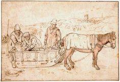 """Hendrick Avercamp (1585-1634) Op deze tekening staat een paard met slee. Rechts op de achtergrond zijn vaag de vuurbaak en de """"Oude Kerk"""" van Scheveningen te zien. Het paard heefd een dekkleed op de rug en de mannen zijn dik aangekleed en hebben warme mutsen op het hoofd. Waarschijnlijk is het winter en erg koud. De slee ligt vol met vis, waarschijnlijk aangevoerd met de pink op de achtergrond. (Coll. Fitzwilliam Museum, Cambridge)"""