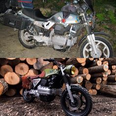 """Vintage Steele op Instagram: """"Best before and after picture ever. Here is our 1985 BMW k100 with its new vision. The idea was to make this bike look good without taking away it's stories. @papawolfsupplyco"""