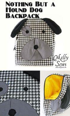Hound Dog Rucksack Tutorial für ein Kleinkind oder Kind - so süß! Dog Backpack, Toddler Backpack, Sewing Tutorials, Sewing Projects, Sewing Patterns, Sewing Kits, Backpack Tutorial, Backpack Pattern, Sewing For Kids