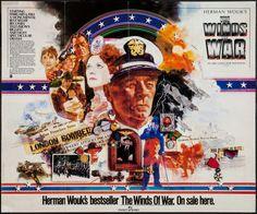 """The Winds of War (ABC, 1983). Book Television Movie Tie-In Poster (36"""" X 44""""). War. Starring Robert Mitchum, Ali MacGraw, Jan-Michael Vincent, John Houseman, Polly Bergen, Lisa Eilbacher, David Dukes, Topol, Peter Graves, Jeremy Kemp, Ralph Bellamy, and Ben Murphy."""