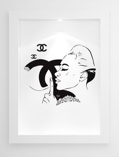 Simple black and white vintage Chanel art by Mayfair Editions