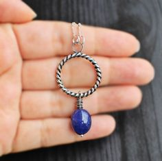 Tumbled Sapphire Necklace Circle pendant rope by SaruchiRJewellery