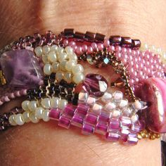 Fuschia freeform peyote bracelet by SandKKreations on Etsy, $55.00