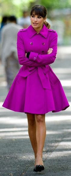 #purple trenchcoat Apparel clothing outfit style women fashion spring bright street