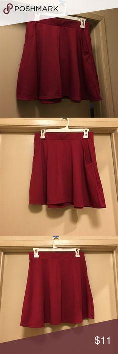BRAND NEW Cotton On Skater Skirt Brand New, Never Worn, Flowy, Burgundy Skater Skirt from Cotton On Cotton On Skirts Midi