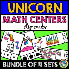 UNICORN THEME CLIP CARDS (BUNDLE OF 4 SETS)  This hands-on fun pack, containing 44 clip cards, is an ideal resource for your Unicorn Math Centers. Children clip clothes pin onto the corresponding answer. The perfect resource to motivate your students!   Clip cards sets included: Counting unicorn ten frames (numbers 1-10) Counting dots on unicorn (1-10) Unicorn shapes (14 clip cards) Counting horn tallies (1-10)