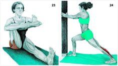 Queste 36 immagini ti aiuteranno a capire come eseguire lo stretching, come riscaldare i tuoi muscoli e quali sono i muscoli che stai distendendo.