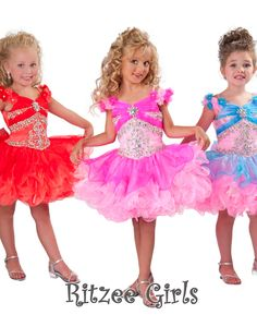 Lovely 2013 Pink Blue Red Cupcake Girls Pageant Dresses With Sleeves Mini Beaded flower girl dresses for little kids RG (Mainland)) Little Girl Pageant Dresses, Crazy Dresses, Cheap Flower Girl Dresses, Wedding Party Dresses, Girls Dresses, Pageant Gowns, Dresses 2014, Flower Girls, Prom Dresses