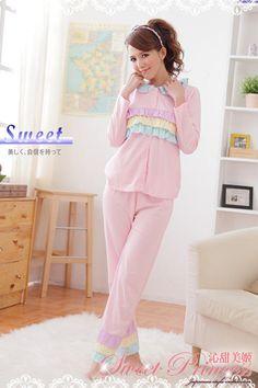Pajama Set: Color-Block Layered Top + Pants - Sweet Princess | YESSTYLE Australia