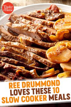 Ree Drummond Loves to Make These 10 Slow Cooker Meals #SlowCooker #ReeDrummond #SlowCookerRecipes Crock Pot Food, Crockpot Dishes, Crock Pot Slow Cooker, Pressure Cooker Recipes, Crockpot Recipes, Freezer Recipes, Freezer Cooking, Freezer Meals, Food Network Recipes