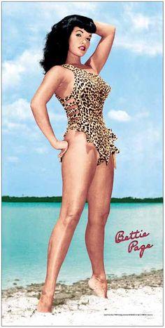 bettie page pin up art   Bettie Page Beach Towel.jpg