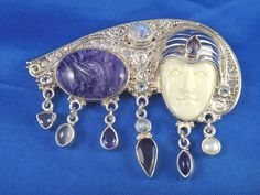 Sajen Hand Crafted Sterling Silver Charoite Pin Brooch Pendant with Goddess Face | eBay