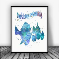 Finding Nemo Quote Watercolor Art Print Poster. Disney Print For Home Decoration, Nursery and Kids Room Decor.
