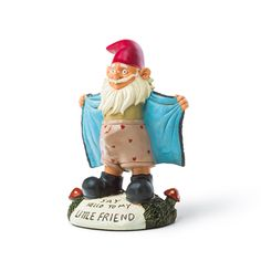 He'll be quite comfortable hanging out in your bushes This garden statue wants you to see his umm…fresh vegetables. a hilarious take on the conventional garden gnome durable cast poly resin withstands the elements approximately 9 inches tall collect them all! Funny Garden Gnomes, Gnome Garden, Garden Fun, Gnome Statues, Garden Statues, Outdoor Gifts, Dollhouse Accessories, Fishing Gifts, Garden Ornaments