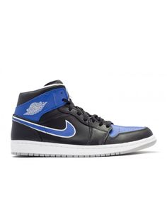 Air Jordan 1 Mid Black Mtlc Platinum Game Royal 554724 007 7bde7c3fc