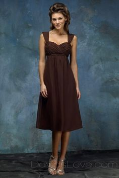 Sweetheart Tea Length Chiffon Bridesmaid Dress