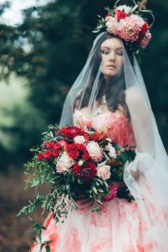 Red Bridal bouquet & floral headpiece - Image by Miss Gen - Alice In Wonderland Mad Hatters Tea Party Inspired Wedding Inspiration Shoot Using Top Australian Wedding Suppliers Rockstars And Royalty Swish Vintage And Peony N' Pearl With Images By Miss Gen Photography