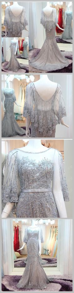 AHS006 New Arrival Mermaid Train Gray Prom Dresses with Shawl Yarn 2017 scoop neck wedding dresses backless prom dresses.
