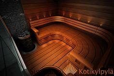 Sun Sauna, Wave laudemallisto, Integroitu pilarikiuas, Lämpökäsitelty terveleppä Saunas, Home Spa, Classic House, Stairs, Bathroom, Design, Home Decor, Washroom, Stairway