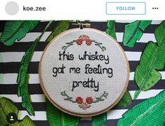 Frisky whiskey cross stitch