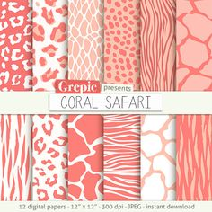 "Coral animal print: digital paper ""CORAL SAFARI""  zebra print  tiger skin  giraffe  leopard patterns  safari  orange pink animal skin #patterns #grepic"