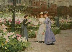View Ladies at the Flower Market By Victor Guerrier; oil on canvas; 29 x in; Access more artwork lots and estimated & realized auction prices on MutualArt. French Flowers, Retro Flowers, Flowers For Sale, French Paintings, Oil Painting Flowers, Flower Market, Figure Painting, Garden Art, Oil On Canvas
