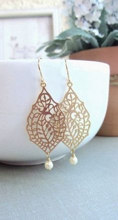 Classy gold leaf with pearl accent earrings