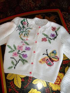 lace baby jacket knit with crochet accents from asian magazine found in russian site httpwwwliveinternetruusersbaby charts included - PIPicStats Kids Knitting Patterns, Knitting For Kids, Crochet For Kids, Baby Patterns, Free Knitting, Knit Crochet, Crochet Mittens, Crochet Ideas, Free Crochet