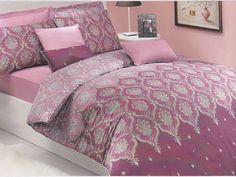 Queen Damask Bedding Set in Powder Pink Dusty Pink by MyveraLinen