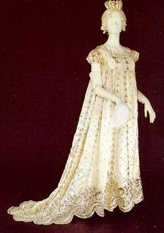 Dress: ca. 1800, Portuguese, silk; pearl embroidery.
