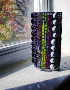 Stained Glass Mosaic Vase Pink Green Purple by earthmothermosaics
