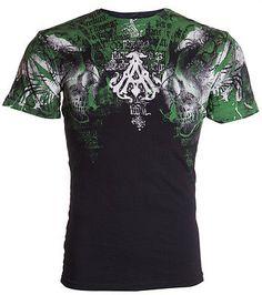 Archaic AFFLICTION Mens T-Shirt NIGHTCRAWLER Skulls Tattoo Biker UFC M-4XL $40