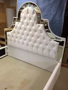 White Faux Leather King Size Tufted Upholstered Bed with Mirrors King Bed Upholstered Bed Mirrors Tufted Bed Headboard Upholstered Headboard Bed Headboard Design, Bed Frame Design, Black Headboard, Modern Headboard, Leather Headboard, Bedroom Bed Design, Headboards For Beds, Tufted Bed, Upholstered Beds