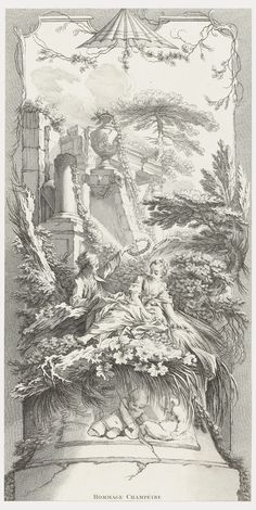 Print, Hommage Champètre (Pastorale) in Nouveaux Morceaux pour des Paravents [New Concepts for Screens], etching and engraving on white laid paper. Purchased for the Museum by the Advisory Council Gravure Illustration, Tribute, Rococo Style, Design Museum, Antique Prints, Vintage Images, New Art, Statues, Art Drawings