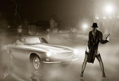 A digital fantasy art painting of a sexy female detective dressed in a leather coat and stockings and holding a hand gun. The picture features the classic Volvo P1800 as used in the 1960's television series The Saint.