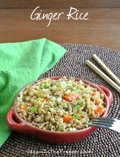Ginger Rice has a bit of spicy heat. Along with all of the other spices and vegetables you will have a wonderful main or side dish. Fast, simple, wonderful.