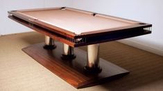 Yacht inspired 'Riva' Pool table design with Ball Runner, Taupe cloth and mahogany stain on solid walnut - handmade at Sir William Bentley Billiards UK workshops, Marten. Custom Pool Tables, Billiard Pool Table, Billiards Pool, Pocket Game, Mahogany Stain, Cool Pools, Construction, Diy Furniture, Gaming