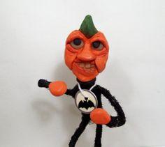 Halloween Pumpkin Art Doll Gone Bat Crazy Folk Art by llacarve, $25.00