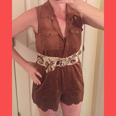 Suede Romper 100% suede romper! Really cute with a funky belt and heels. Will include the belt pictured if given the full offer! Other