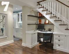 neat office space under the stairs by pauline