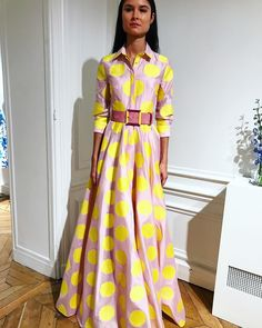 Carolina Herrera shirt dress gown pink yellow polka dots